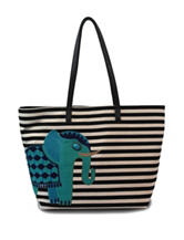 Bueno Elephant Striped Canvas Tote Bag