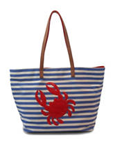 Bueno Crab Striped Canvas Tote Bag
