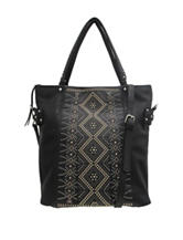 Chinese Laundry Black Pinstud Crossbody Tote Bag