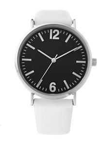 Accutime Black Dial White Faux Leather Strap Watch