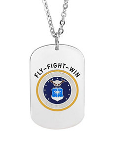 Jay Aimee Air Force Stainless Steel Dog Tag Cable Chain Necklace