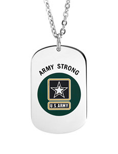 Jay Aimee U.S. Army Stainless Steel Dog Tag Cable Chain Necklace