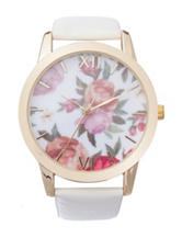 Floral Dial White Faux Leather Watch