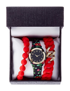 3-pc. Floral Silicon Strap Watch & Bracelet Set