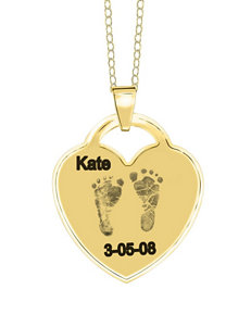 Jay Aimee Footprint Personalized Heart Necklace