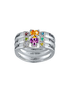 Jay Aimee Sterling Silver 8 Birthstone Personalized Family Ring