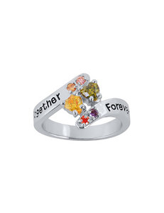 Jay Aimee Sterling Silver Together Forever Family Bypass Ring