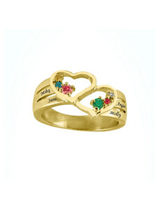 Jay Aimee Gold-Plated Sterling Silver Personalized Double Heart Family Ring