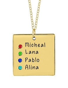 Jay Aimee Birthstone Engraved Tablet Pendant Family Necklace