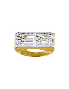 Jay Aimee 14K Gold Rhodium Block Letter Initials Ring