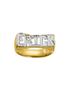 Jay Aimee 14K Gold Rhodium Block Letters Name Ring