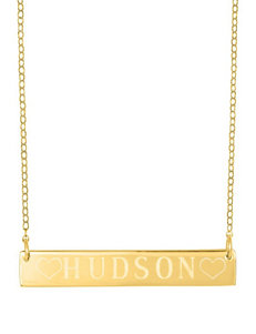 Jay Aimee Engraved Block Letter Nameplate Necklace