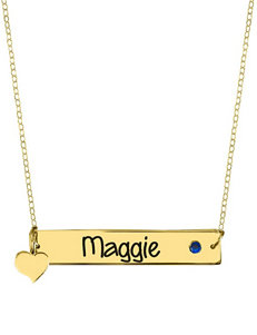 Jay Aimee Heart Charm Horizontal Nameplate Necklace