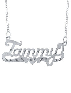 Jay Aimee Diamond Cut Etched Tail Nameplate Necklace