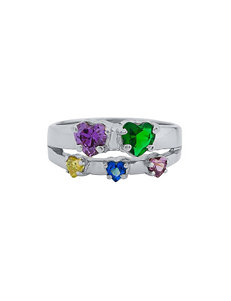 Jay Aimee Sterling Silver 2-5 Synthetic Birthstone Family Ring