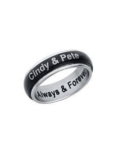 Jay Aimee Stainless Steel Personalized Couples Ring