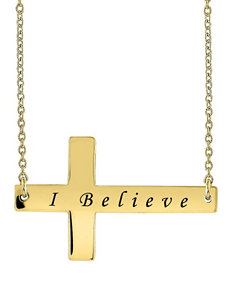 Jay Aimee Personalized Script Sideways Cross Necklace