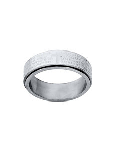 Jay Aimee Stainless Steel Lords Prayer Spinner Ring