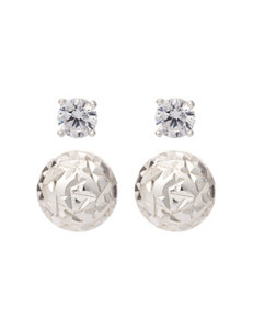 2-pc. Sterling Silver 4mm Cubic Zirconia & Dome Stud Earring Set