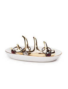 Tri Coastal Gold-Tone Ceramic Antler Ring Holder