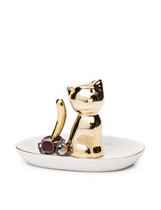 Tri Coastal Gold-Tone Ceramic Cat Ring Holder