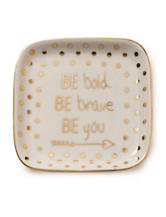 Tri Coastal Be You Dot Print Ceramic Trinket Tray - Gift Boxed