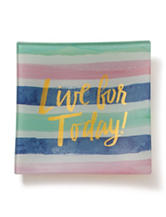 Tri Coastal Live for Today Stripe Print Ceramic Trinket Tray - Gift Boxed