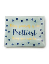 Tri Coastal Be Yourself Dot Print Ceramic Trinket Tray - Gift Boxed