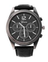 Global Time Gunmetal-Tone Ridged Bezel Black Faux Leather Strap Watch