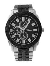 Global Time Black & Silver-tone Bracelet Watch