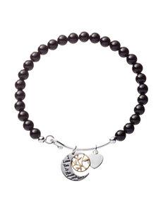 Fine Silver-Plated Genuine Onyx Moon And Back Charm Bracelet