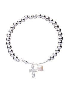 Fine Silver-Plated Cubic Zirconia Cross & Genuine Freshwater Pearl 6mm Bead Bracelet