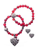 3-pc. Red Heart Bracelet & Earrings Set