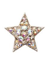 Hannah Gold-tone Clear Crystal Star Pin
