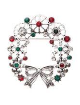 Hannah Rhinestone Filigree Wreath Pin