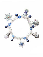 Hannah Beaded Silver-Tone Snowflake & Snowman Jingle Charm Bracelet