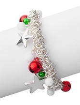 Hannah Silver-Tone Stars & Bells Jingle Charm Bracelet