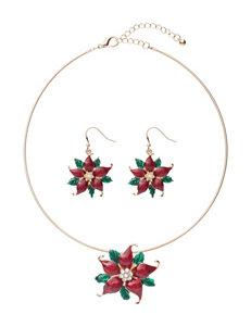 Hannah 2-pc. Poinsettia Necklace & Drop Earrings Set