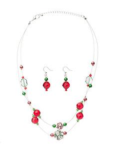 Hannah 2-pc. Double Row Fireball Necklace & Earrings Set