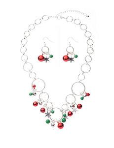 Hannah 2-pc. Open Ring Jingle Bell Necklace & Drop Earrings Set