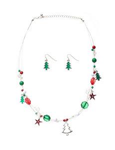 Hannah 2-pc. Triple Row Christmas Tree Necklace & Earrings Set