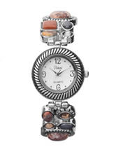 Semi-Precious Stone Silver-Tone Stretch Bracelet Watch