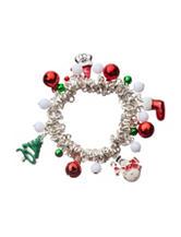 Hannah Santa Cat Silver-Tone Charm Bracelet