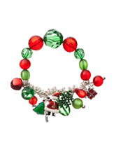 Hannah Christmas Bead Silver-Tone Charm Bracelet