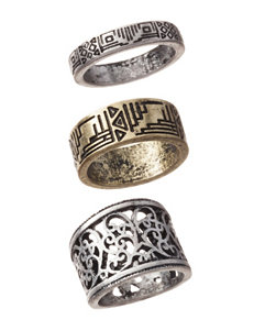 Hannah Global 3-pc. Etched Tribal Ring Set