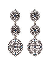 Signature Studio Blue & Green Crystal Filigree Drop Earrings