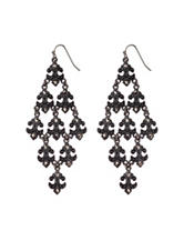 Signature Studio Black-tone Fleur De Lis Chandelier Earrings
