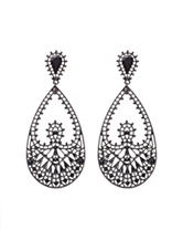 Signature Studio Black Rhinestone Teardrop Earrings