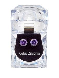 Robert Enterprises Round Purple Cubic Zirconia Earrings
