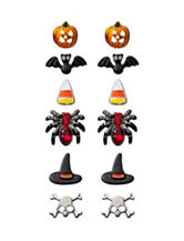 Wishful Park 6-Pair Skull Spider Witch Hat Stud Earrings